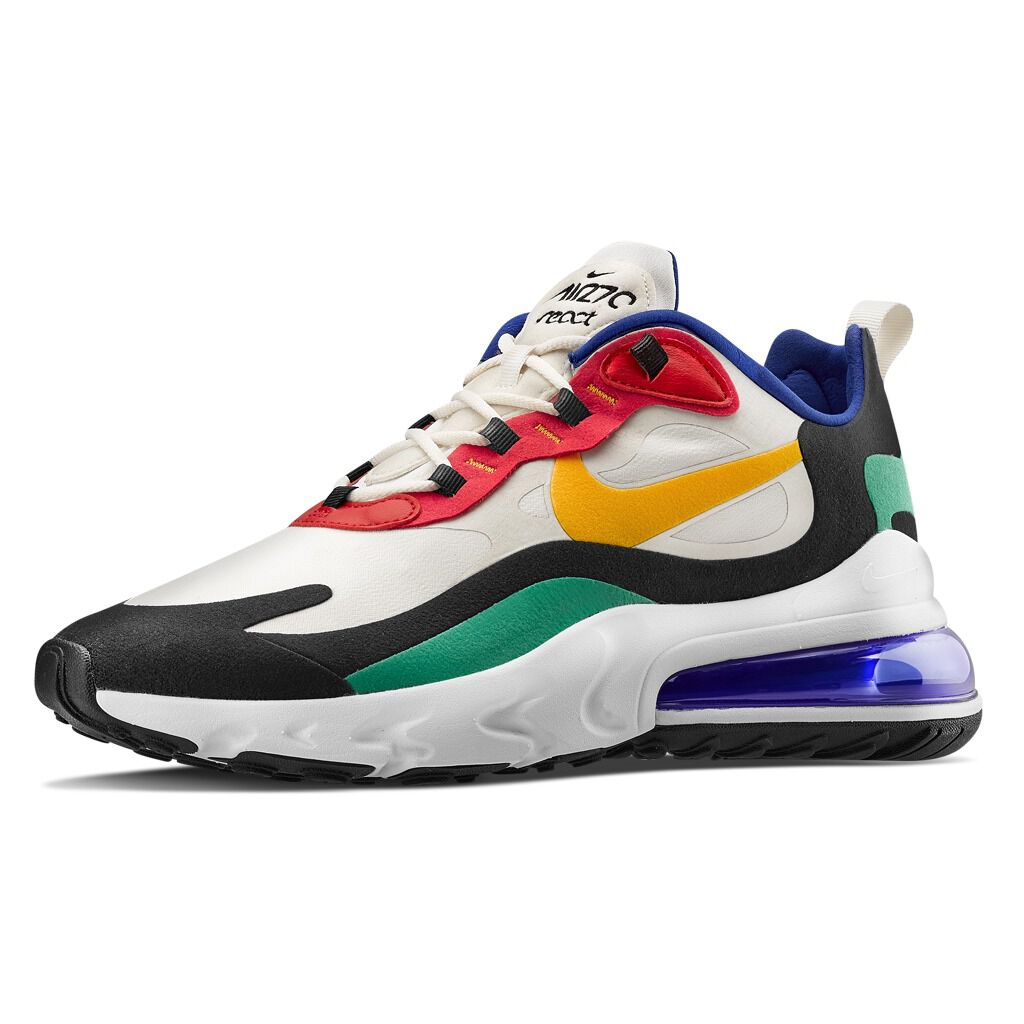 Nike Air Max 270 React bianche, nere, rosse e verdi AW LAB