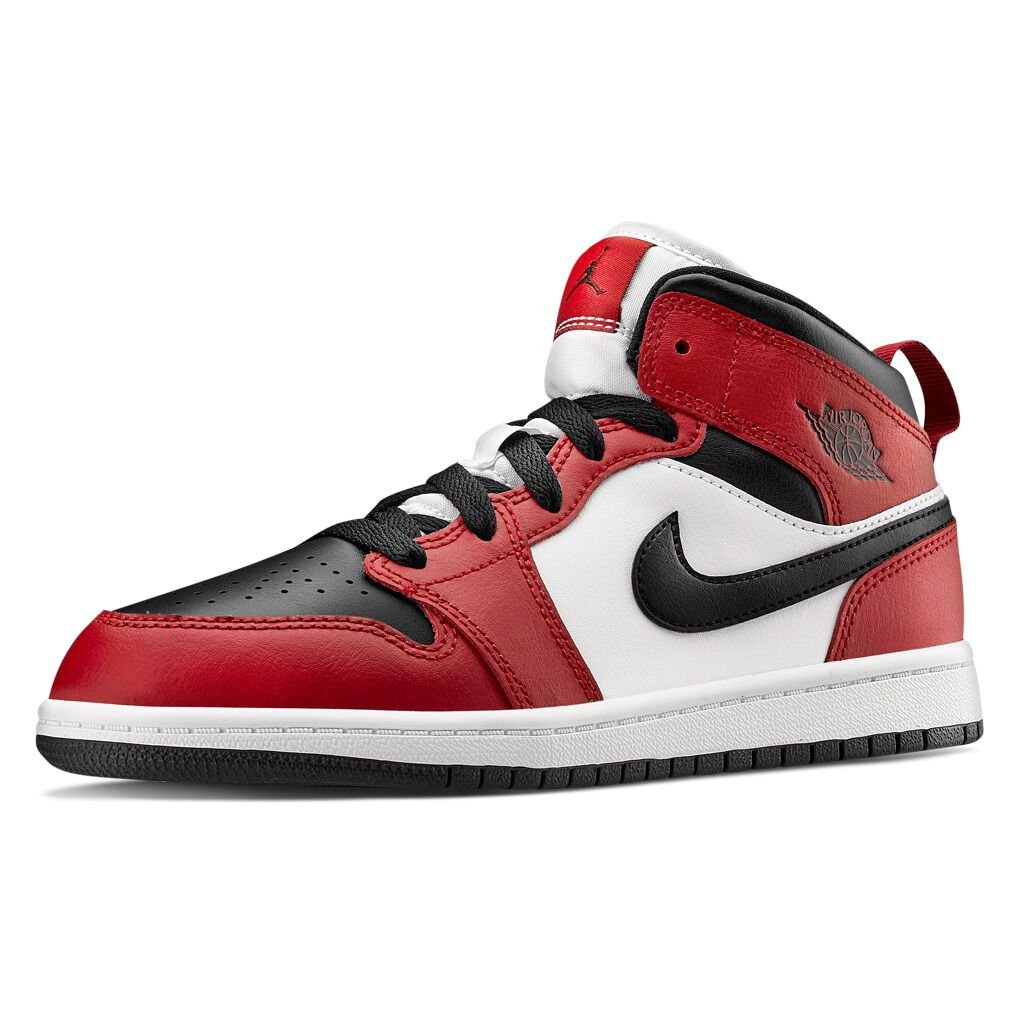 Air Jordan 1 Mid Chicago Toe bianche e rosse - AW LAB